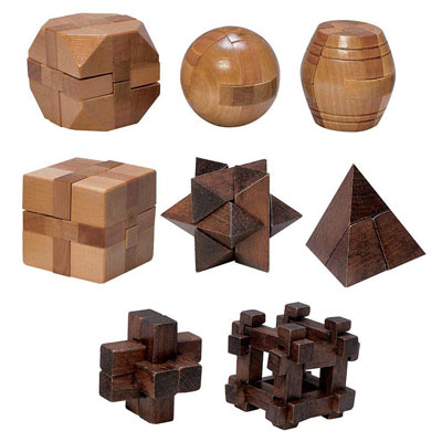 Set of All 8: Natural Wood Puzzles and Dark Wood Puzzles