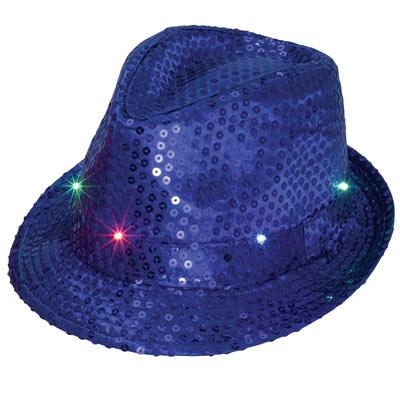 Blue LED Flashing Sequin Hat