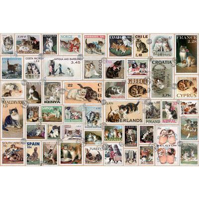 Cat Stamps Quilt 300 Large Piece Jigsaw Puzzle