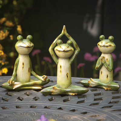 Set of 3: Yoga Pose Frog Statuettes