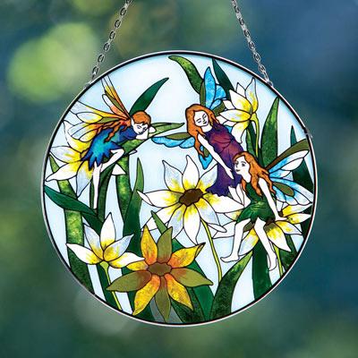 Fairies Art Glass Suncatcher