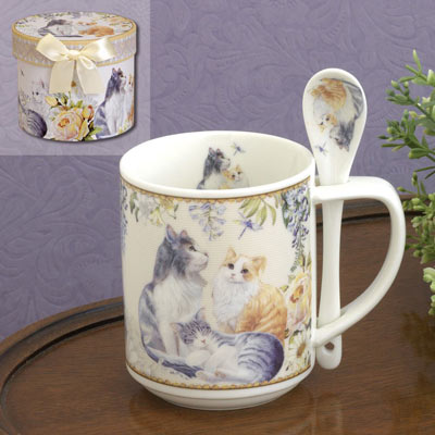 Ceramic Kittens Mug With Spoon Set