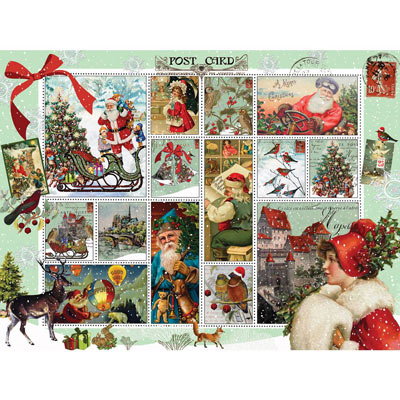 Vintage Christmas Quilt 300 Large Piece Jigsaw Puzzle