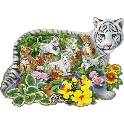 White Tiger Cub 750 Piece Shaped Jigsaw Puzzle