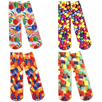 Set of 4: Candy Craze Printer Crew Socks
