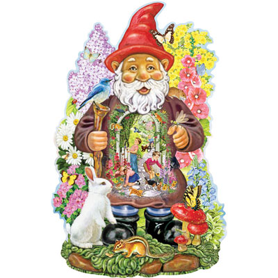 Inside Gnome Garden 750 Piece Shaped Jigsaw Puzzle