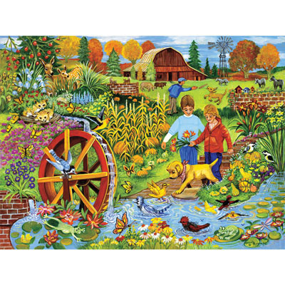 Playing By The Waterwheel 300 Large Piece Jigsaw Puzzle