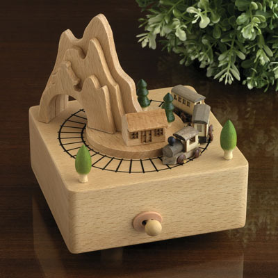 Wooden Moving Train Music Box - On The Road Again