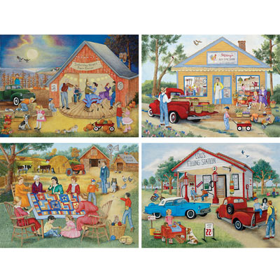 Friendly Folk 4-in-1 Multi-Pack 500 Piece Puzzle Set