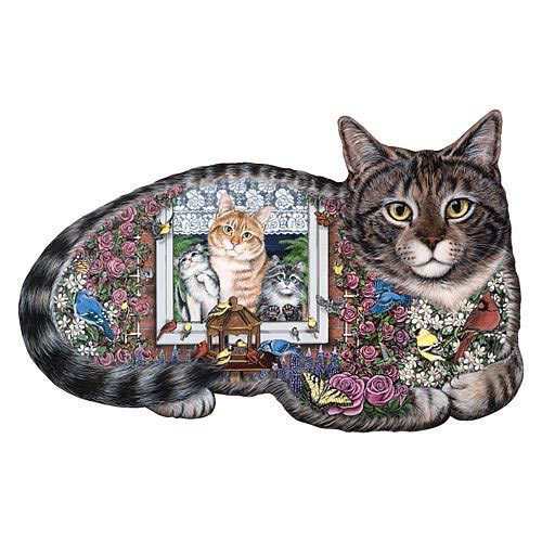 Window Cats 300 Large Piece Shaped Jigsaw Puzzle
