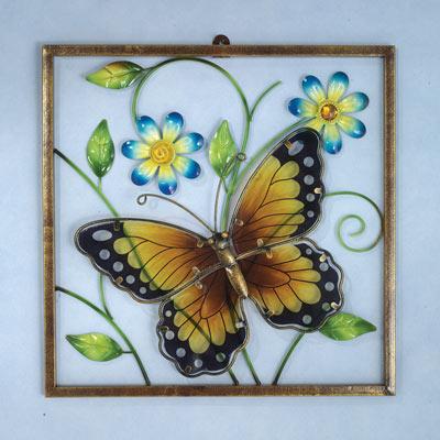 Framed Butterfly Window Wall Decor