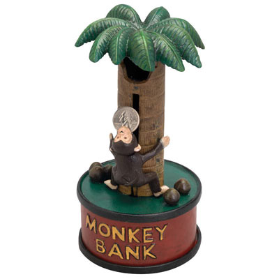 Monkey Up A Tree Mechanical Bank