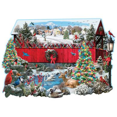 Christmas Covered Bridge 750 Piece Shaped Jigsaw Puzzle