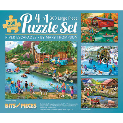 River Escapades 4-in-1 Multi-Pack 300 Large Piece Puzzle Set