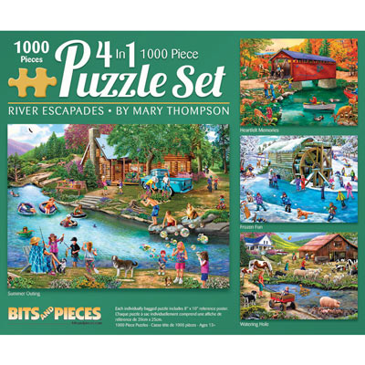 River Escapades 4-in-1 Multi-Pack 1000 Piece Puzzle Set