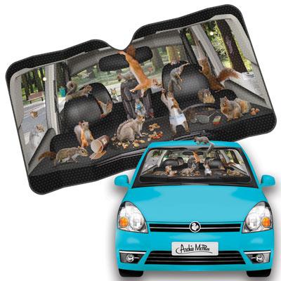 Car Full Of Squirrels Auto Sunshade