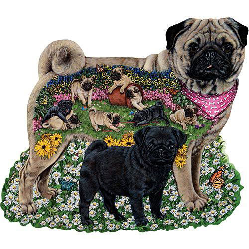 Playful Pugs 300 Large Piece Shaped Jigsaw Puzzle
