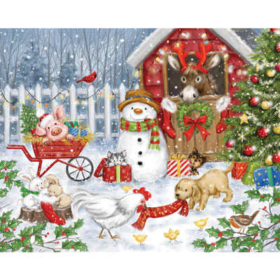 Christmas Farm Animals 1000 Piece Jigsaw Puzzle