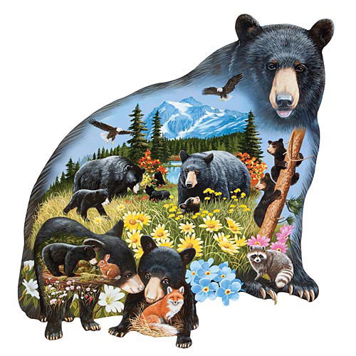 Black Bear Mountain 750 Piece Shaped Jigsaw Puzzle