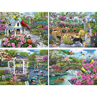 Glorious Gardens 4-in-1 Multi-Pack 300 Large Piece Puzzle Set