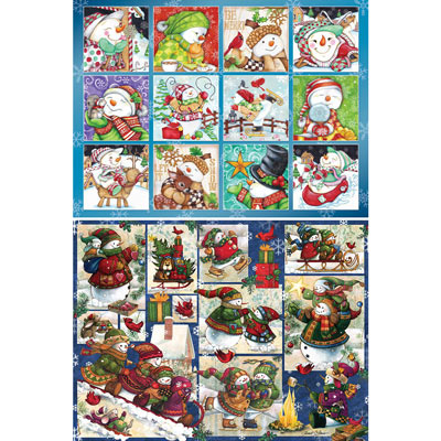 Set of 2: Snowman Quilt 1000 Piece Jigsaw Puzzles