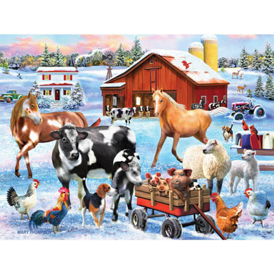 Snowy Farmyard Fun 500 Piece Jigsaw Puzzle
