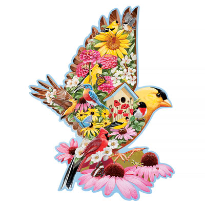 Gold Finch Garden 750 Piece Shaped Jigsaw Puzzle
