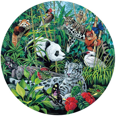Asian Rainforest 600 Piece Round Jigsaw Puzzle