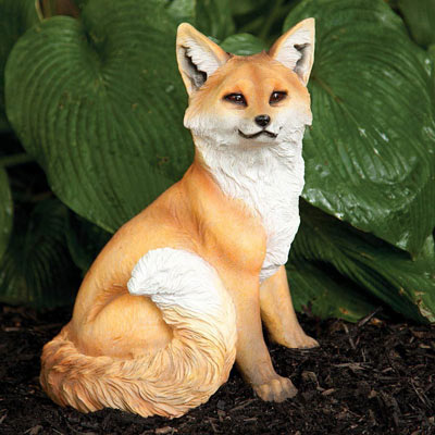 Sitting Fox Garden Statue