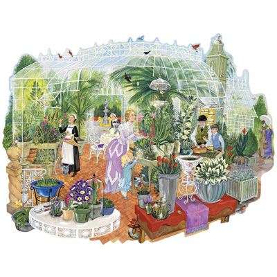 Gathering At The Greenhouse 750 Piece Shaped Jigsaw Puzzle