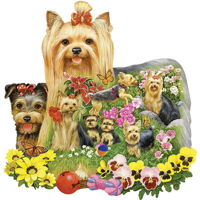 A Yard Full Of Yorkies 300 Large Piece Shaped Jigsaw Puzzle