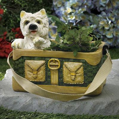 Westie in Woven Handbag Planter