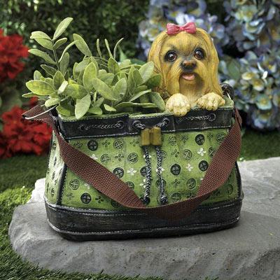 Terrier in Green Handbag Planter