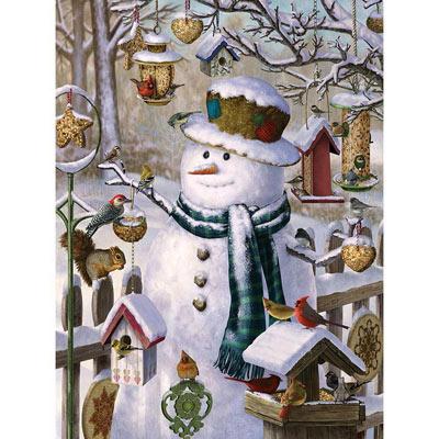 Snowman Feeding The Birds 300 Large Piece Jigsaw Puzzle