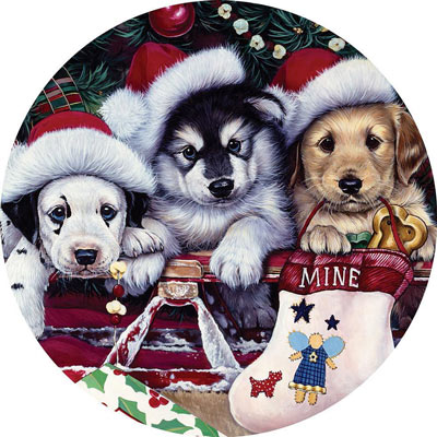 A Tail Wagging Christmas 1000 Piece Round Jigsaw Puzzle