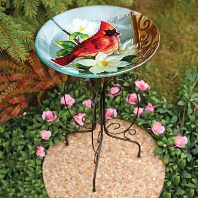 Glass Cardinal And Magnolia Birdbath