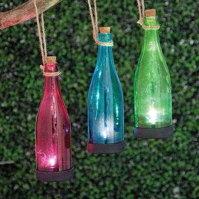 Red Solar Powered Hanging Glass Bottle