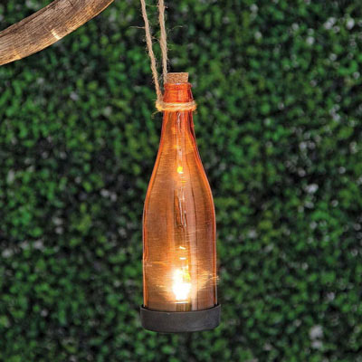 Orange Solar Powered Hanging Glass Bottle