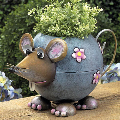 Metal Mouse Planter