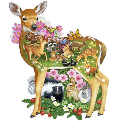 Forest Baby Friends 300 Large Piece Shaped Jigsaw Puzzle