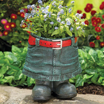 Denim Skirt Planter