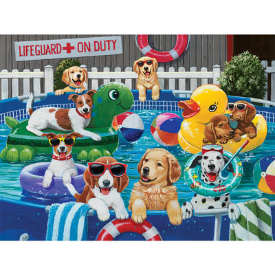 Puppy Pool Party 500 Piece Jigsaw Puzzle
