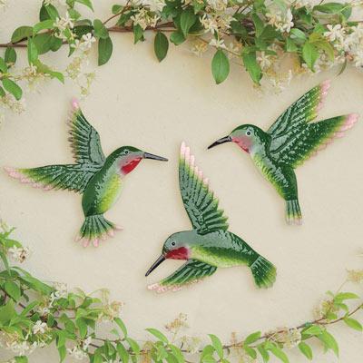 Set of 3: Hummingbird Garden Art