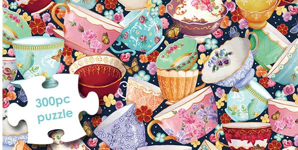Teacups Collage 300 Large Piece Jigsaw Puzzle