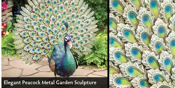Elegant Peacock Metal Garden Sculpture