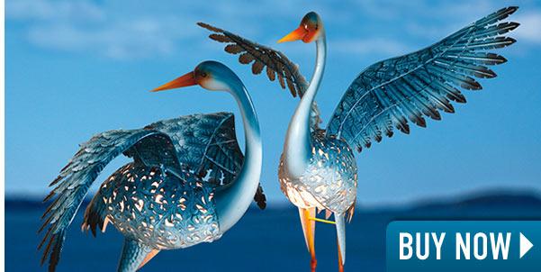 Set of 2: Solar Great Blue Cranes