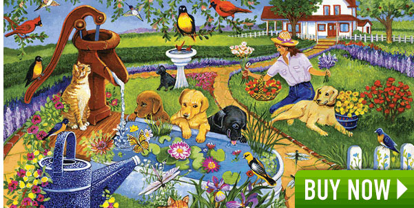 Pups At The Water Pump 1000 Piece Jigsaw Puzzle