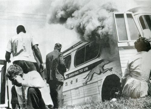 Freedom Riders Bus Burned near Anniston, Alabama, 1961