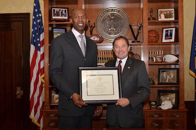 Thurl Bailey With Utah Governor Gary R. Herbert Upon Bailey Being Named the Governor's Ambassador to Utah's Refugee Community