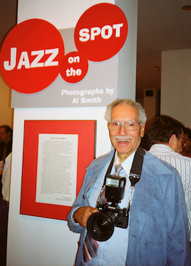 Seattle Photographer Al Smith, Sr. at MOHAI Opening of His Exhibit, Jazz on the Spot